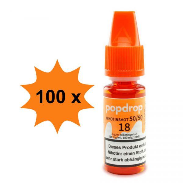 100 flaschen POPDROP Nikotin-Shot 50/50 18mg Nikotin